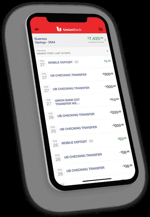 iPhone displaying Business Savings