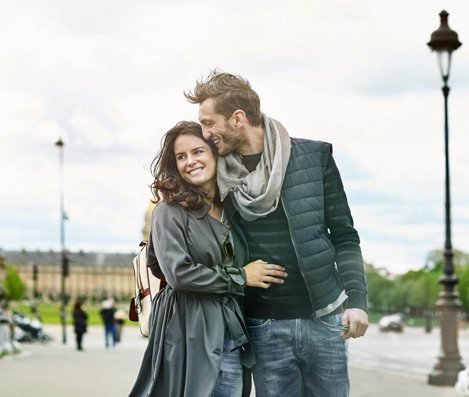 Couple enjoying their honeymoon vacation abroad