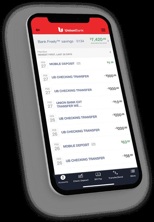 Union Bank App displaying Bank Freely savings account