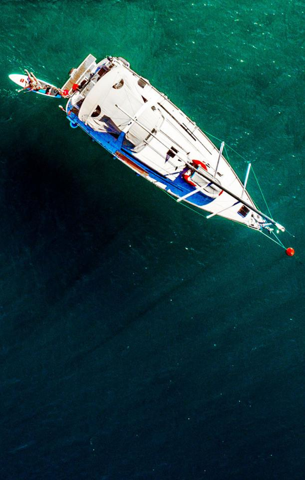 Top view of a yacht at sea