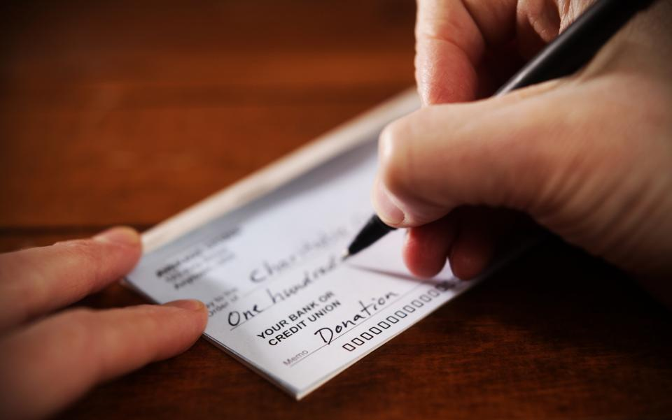 charitable giving check book
